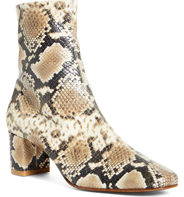 BY FAR Sofia Snake Embossed Bootie, Main, color, SNAKE-PRINT