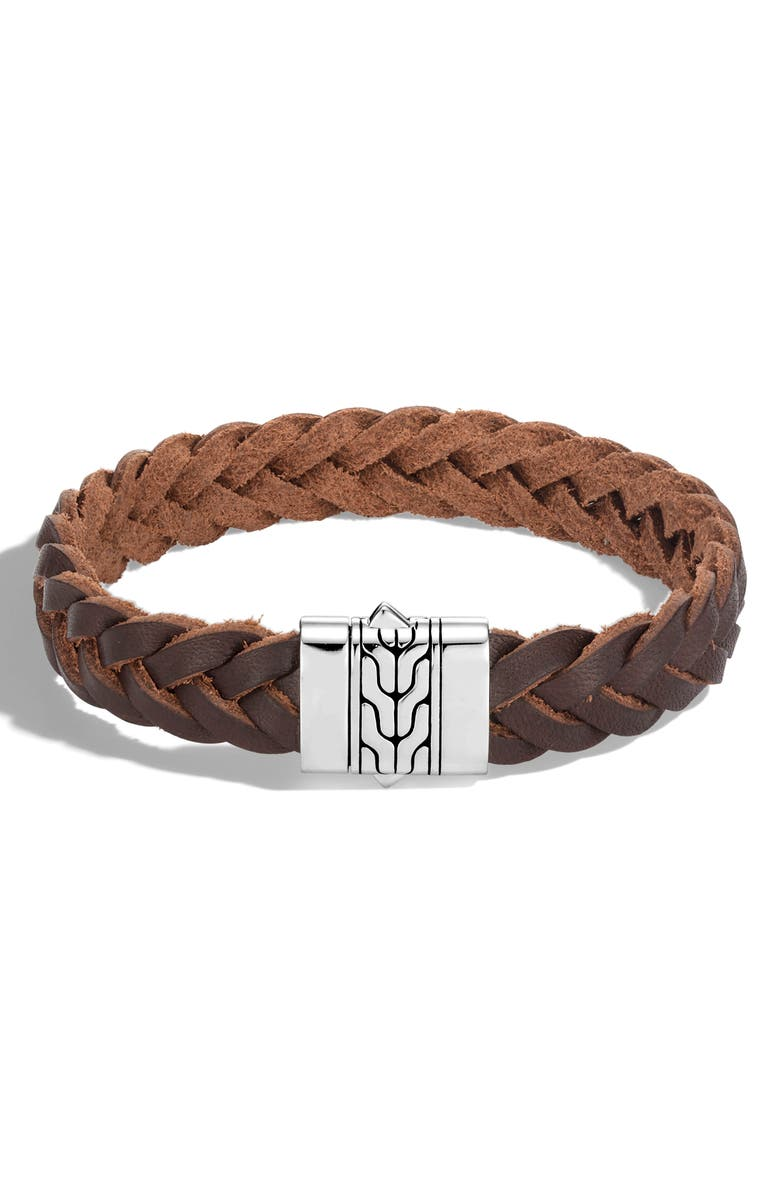JOHN HARDY Men's Classic Chain Woven Leather Bracelet, Main, color, SILVER/ BROWN LEATHER