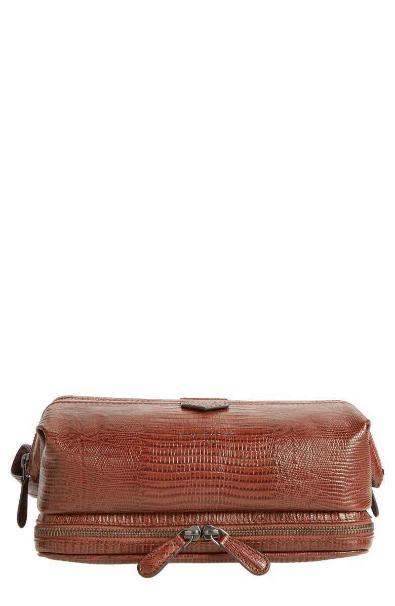 TED BAKER LONDON Chocks Leather Dopp Kit, Main, color, 200