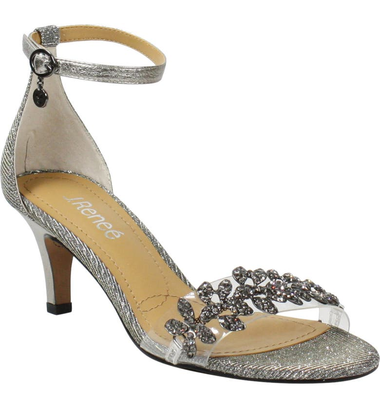 J. RENEÉ J.Renée Hartleigh Ankle Strap Sandal, Main, color, PEWTER GLITTER FABRIC
