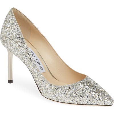Jimmy Choo Romy Glitter Pointy Toe Pump - Metallic