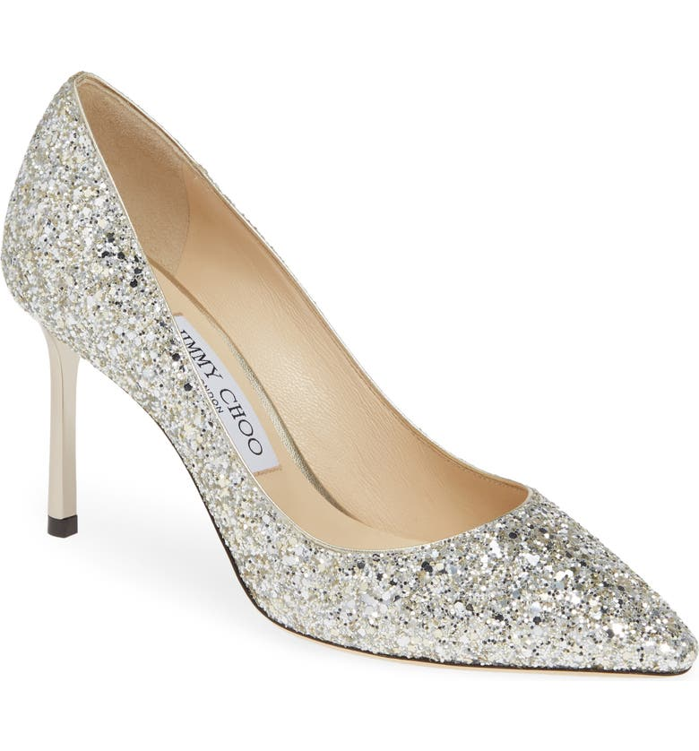 JIMMY CHOO Romy Glitter Pointed Toe Pump, Main, color, 040