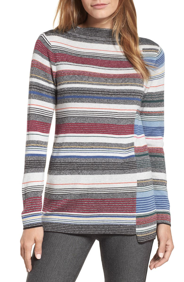 NIC+ZOE Banded Cotton Blend Offset Stripe Sweater, Main, color, MULTI