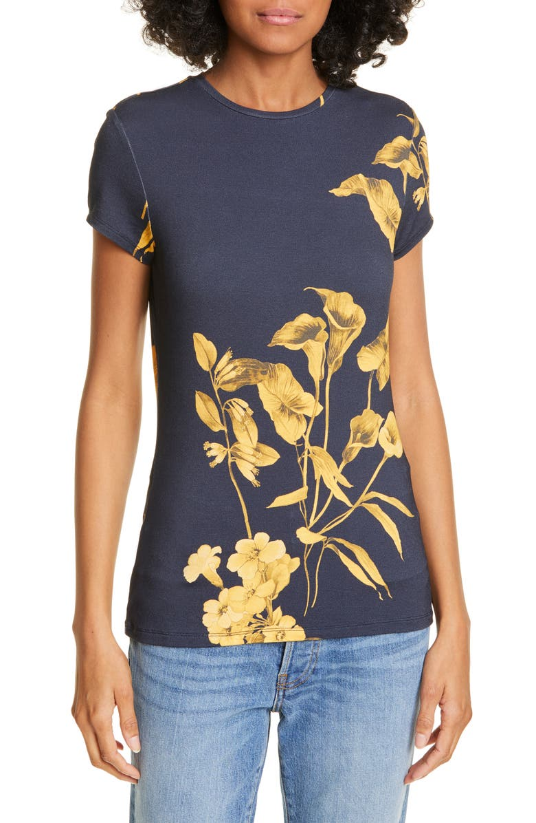 TED BAKER LONDON Roslo Floral Graphic Tee, Main, color, DARK BLUE