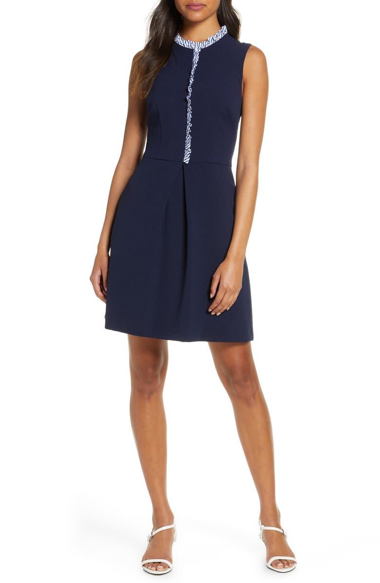 ELIZA J Ruffle Trim Sleeveless Crepe Dress, Main, color, NAVY