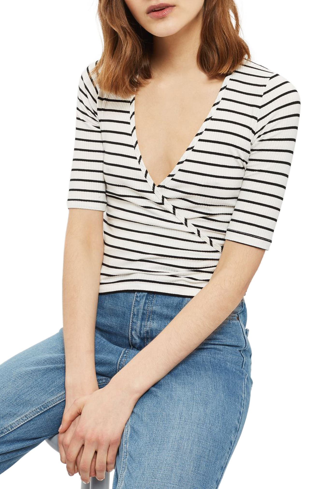 Stripe Wrap Top, Main, color, 100