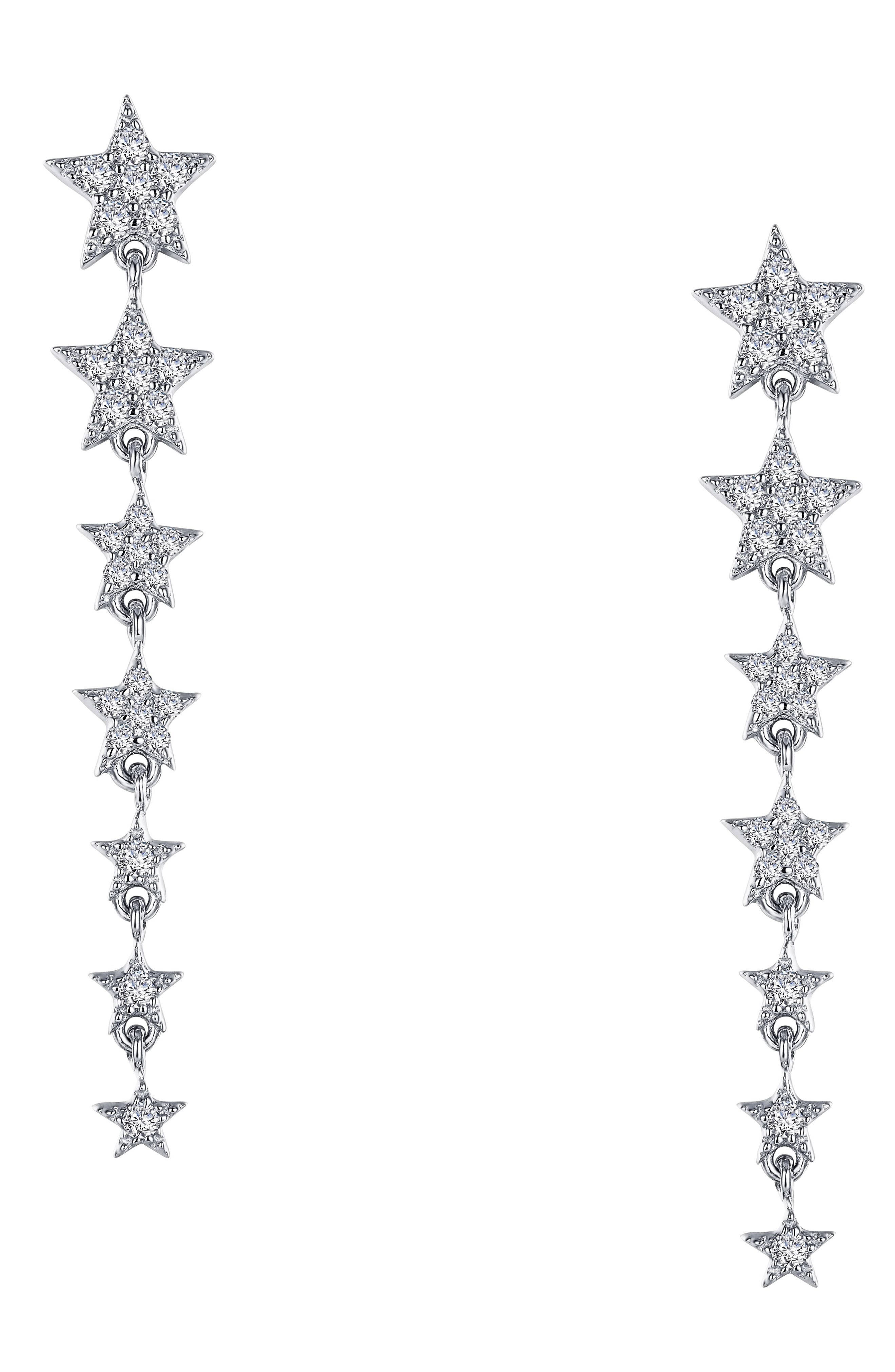 Add twinkling whimsy to your everyday look with these dangling earrings featuring a graduated row of seven stars set with simulated diamonds. Style Name: Lafonn 7 Symbols Of Joy Drop Earrings. Style Number: 5884460. Available in stores.