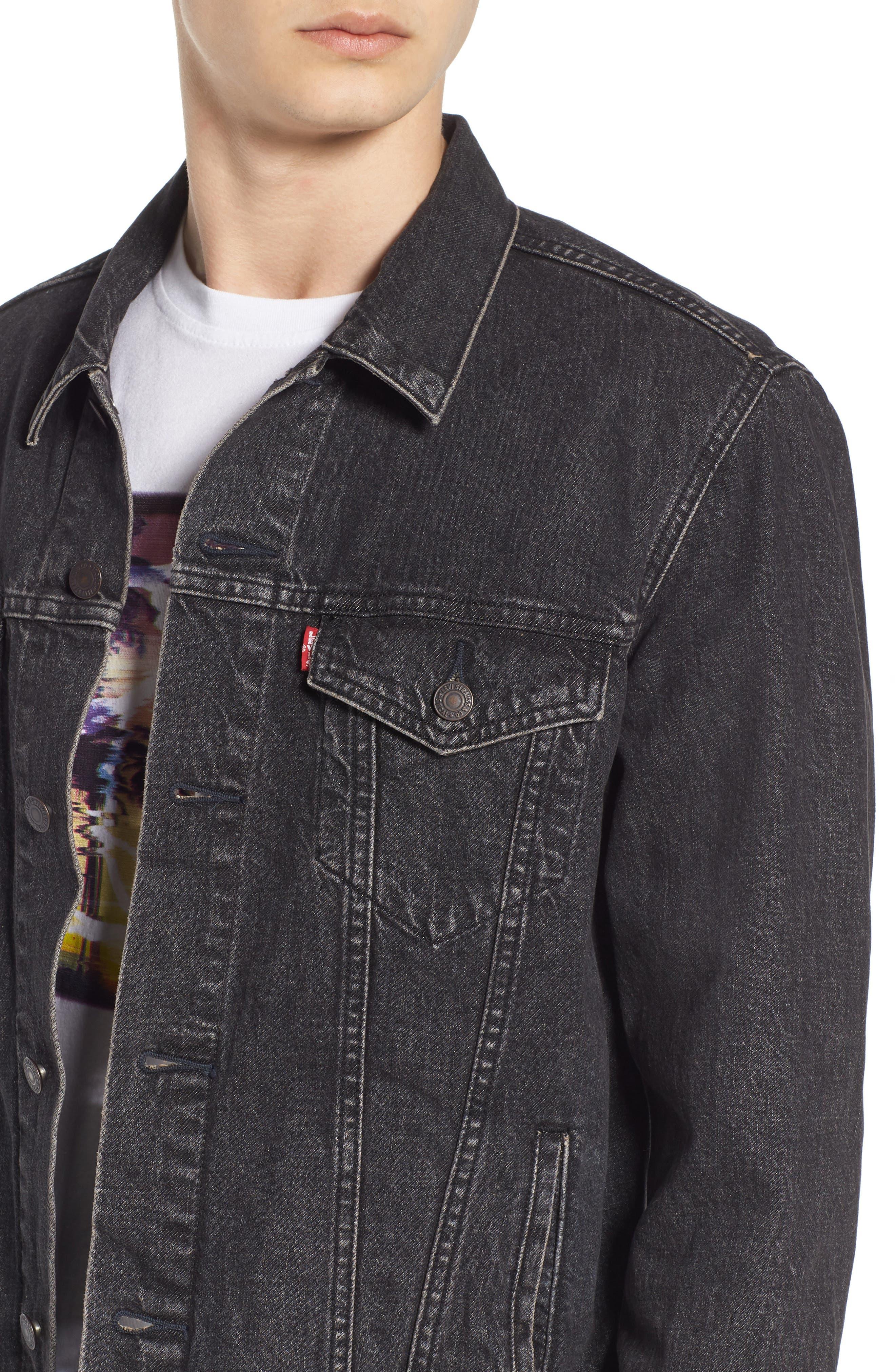 ,                             Trucker Denim Jacket,                             Alternate thumbnail 5, color,                             BLACK FEGIN