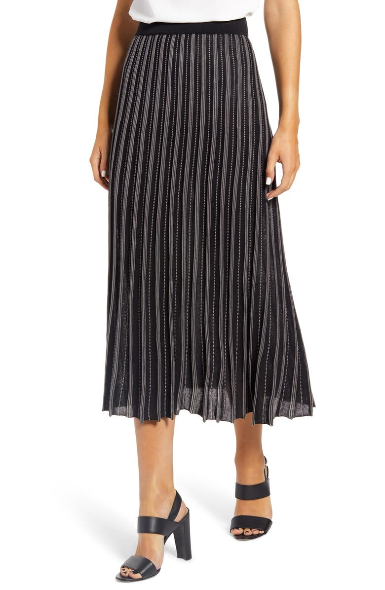 MING WANG Pleated Pull-On Skirt, Main, color, MINK/BLACK