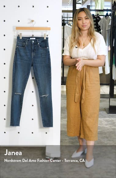 Good Waist Ripped Fray Hem Ankle Skinny Jeans, sales video thumbnail