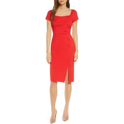 Forest Lily Square Neck Sheath Dress, Red