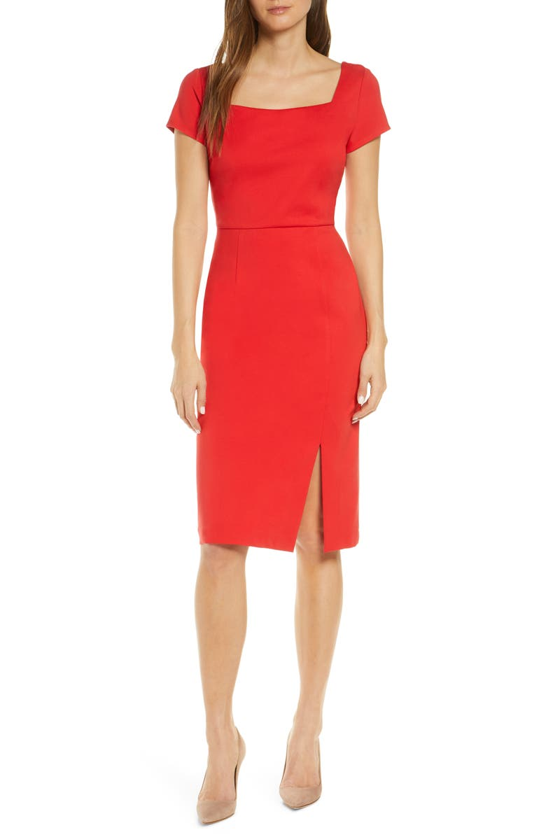 FOREST LILY Square Neck Sheath Dress, Main, color, RED