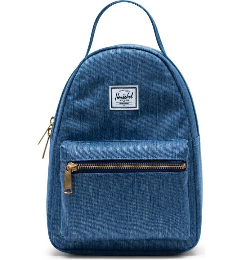 HERSCHEL SUPPLY CO. Mini Nova Denim Backpack, Main, color, FADED DENIM