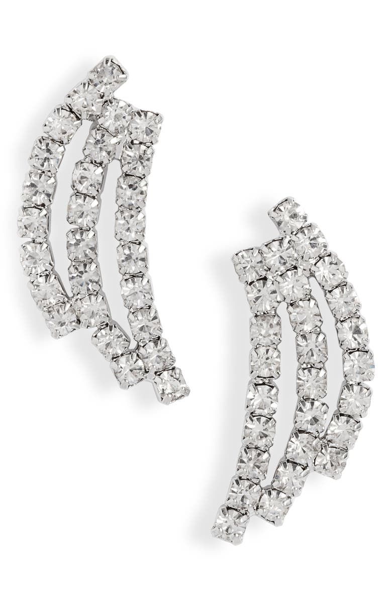 CRISTABELLE Triple Stick Crystal Earrings, Main, color, CRYSTAL/ SILVER
