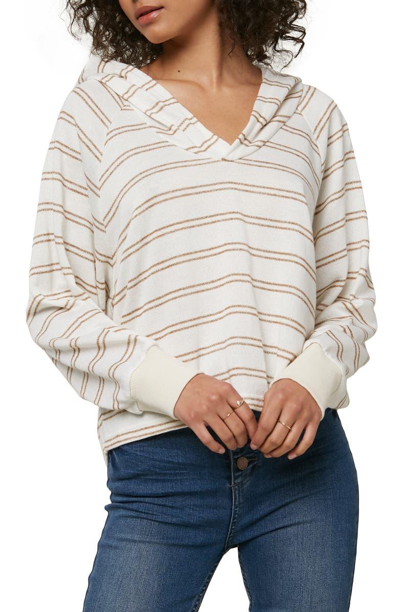 O'NEILL Willa Stripe Hoodie, Main, color, GOLD COAST