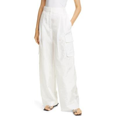 Tibi Crispy Nylon Wide Leg Cargo Pants, White