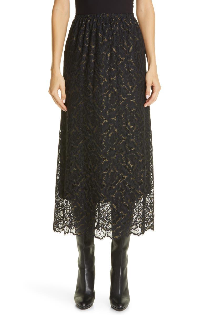 BEAUFILLE Mori Eyelash Lace Midi Skirt, Main, color, JUNIPER/ BLACK