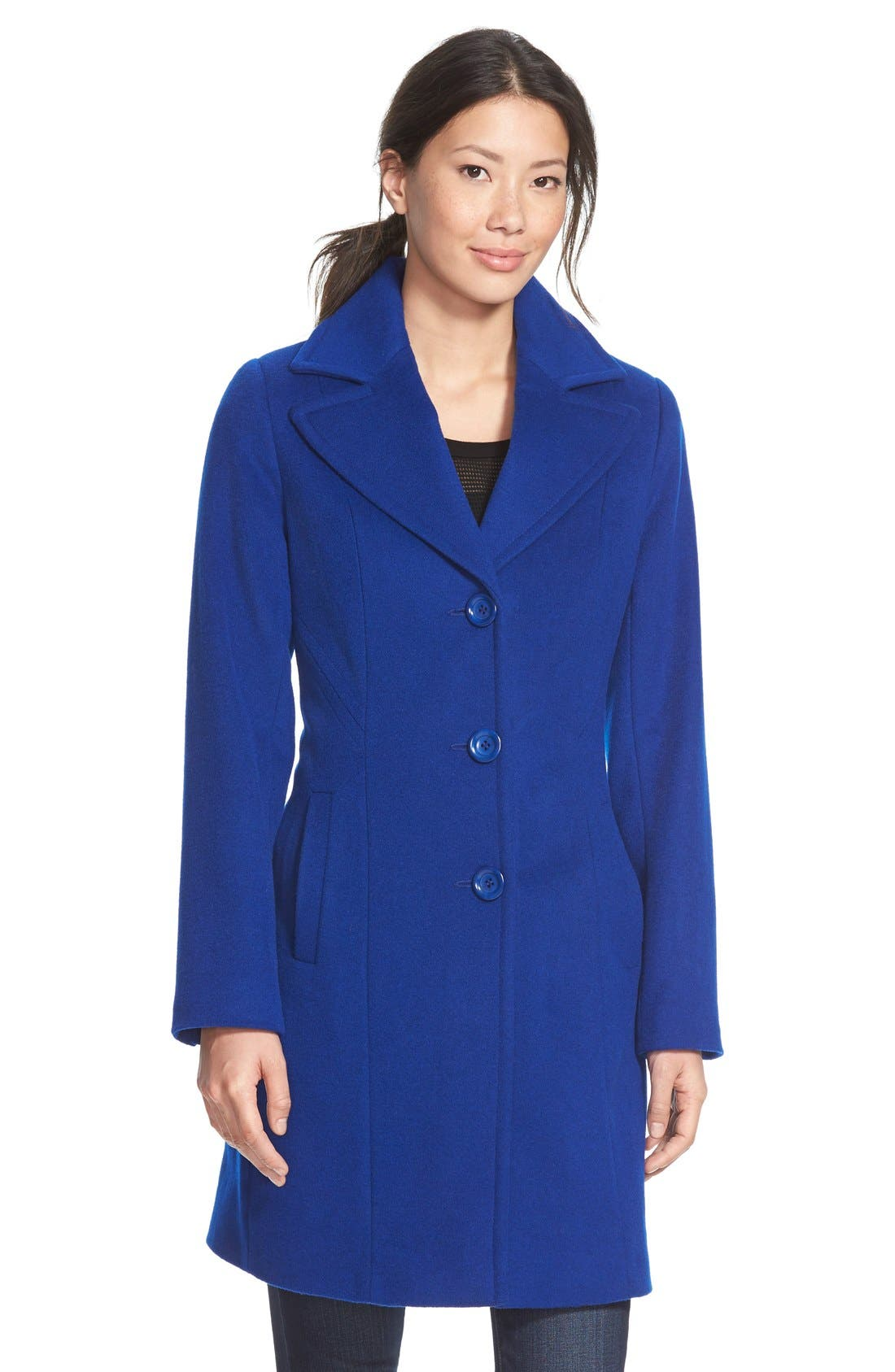 ,                             Single Breasted Wool Blend Coat,                             Main thumbnail 4, color,                             402