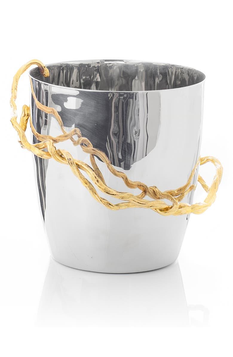 MICHAEL ARAM Wisteria Gold Ice Bucket, Main, color, SILVER