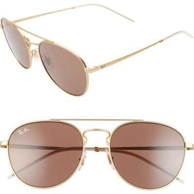 Ray-Ban 55Mm Aviator Sunglasses - Gold/ Brown Solid