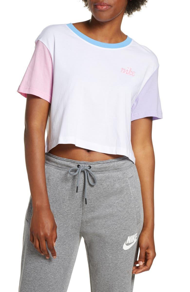 NIKE Sportswear Colorblock Crop Tee, Main, color, WHITE