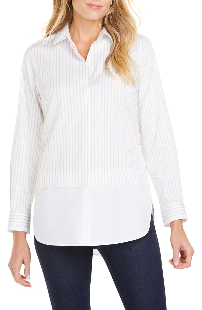FOXCROFT Giselle Layered Look Stripe Shirt, Main, color, 279