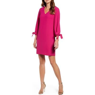 Cece Tie Sleeve A-Line Dress, Pink