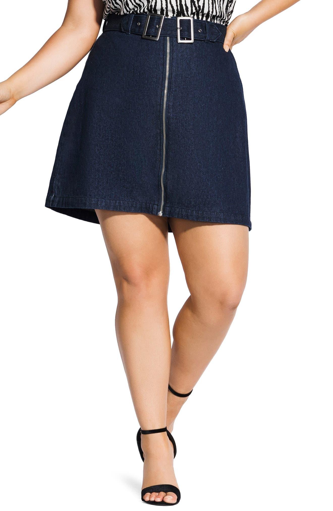 Plus Size City Chic Buckle Denim Skirt, Blue