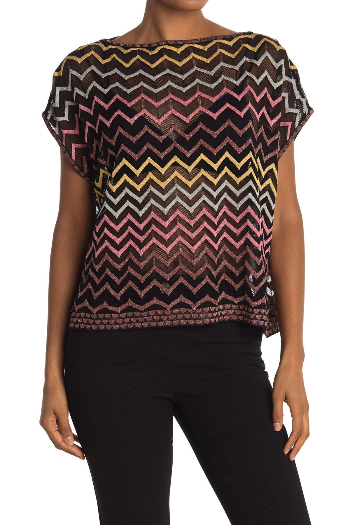 Image of M Missoni Boatneck Patterned Short Sleeve Sweater