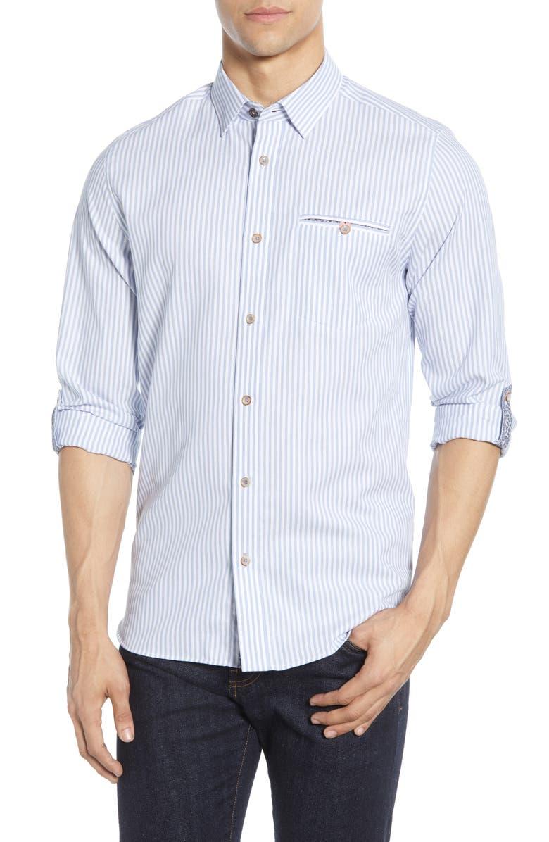 TED BAKER LONDON Slim Fit Stripe Button-Up Shirt, Main, color, BLUE