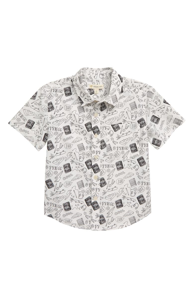 TUCKER + TATE B.Y.O. Woven Cotton Shirt, Main, color, WHITE- BLACK SCHOOL DAZE