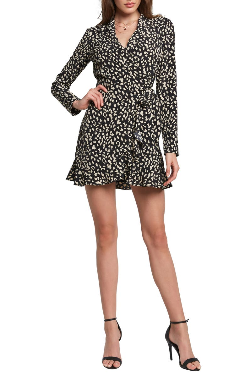 BARDOT B & W Long Sleeve Leopard Print Wrap Minidress, Main, color, 001