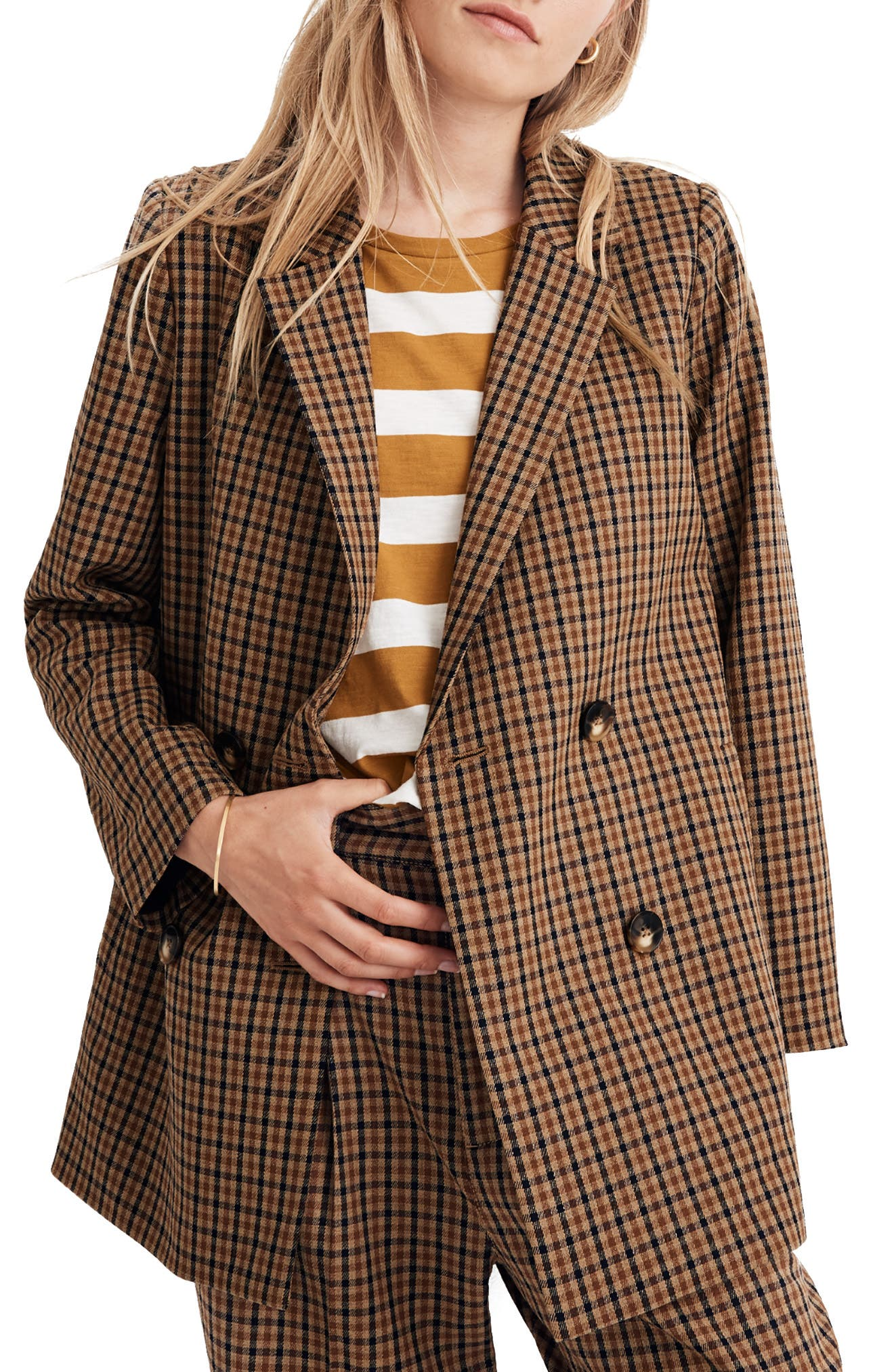 Madewell Caldwell Plaid Double-Breasted Blazer