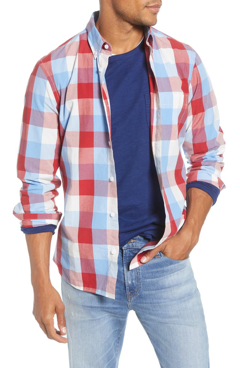 1901 Trim Fit Check Button-Down Shirt, Main, color, RED BLUE COUNTRY CHECK