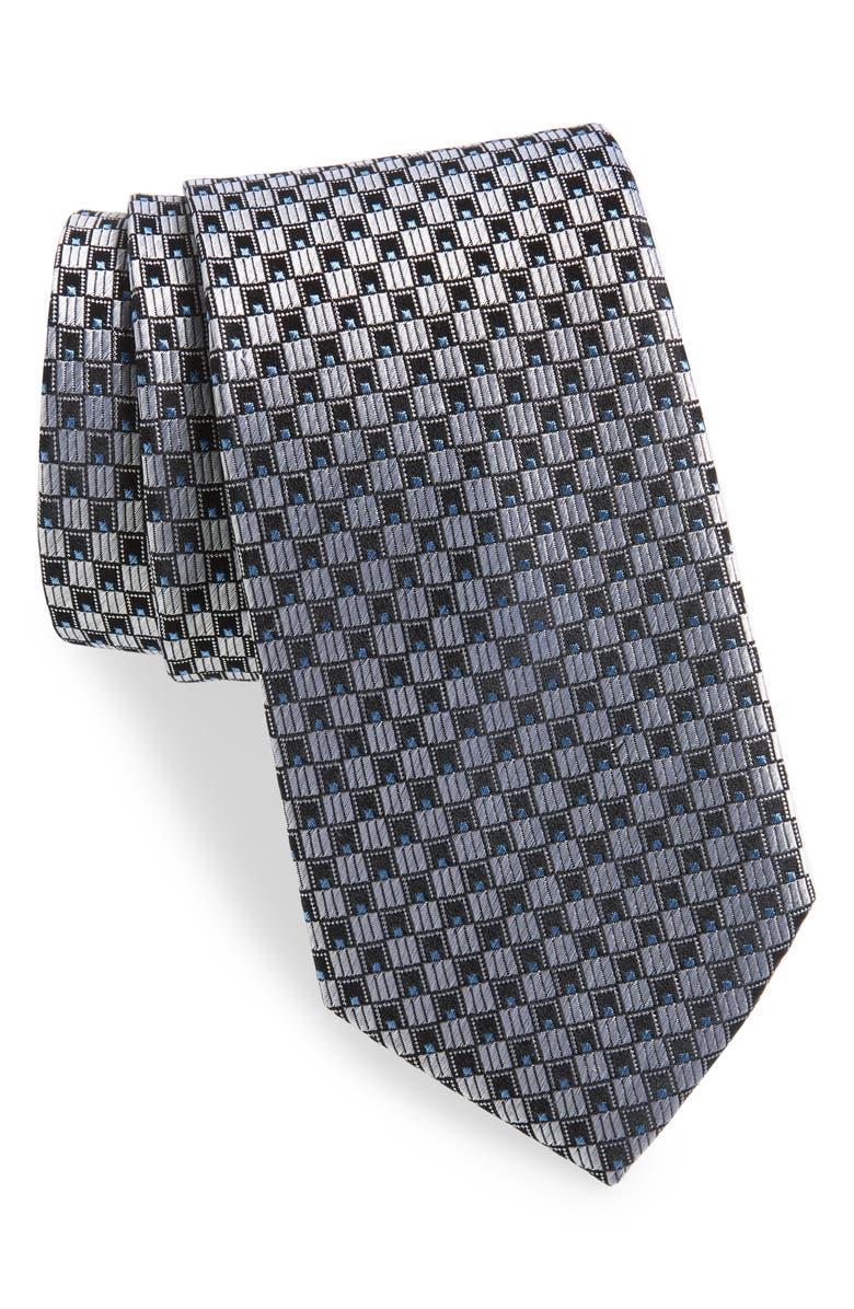 NORDSTROM MEN'S SHOP Geometric Silk Tie, Main, color, SILVER