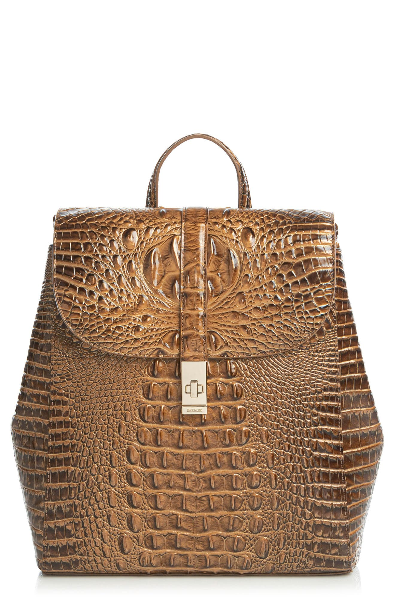 Sadie Croc Embossed Leather Backpack