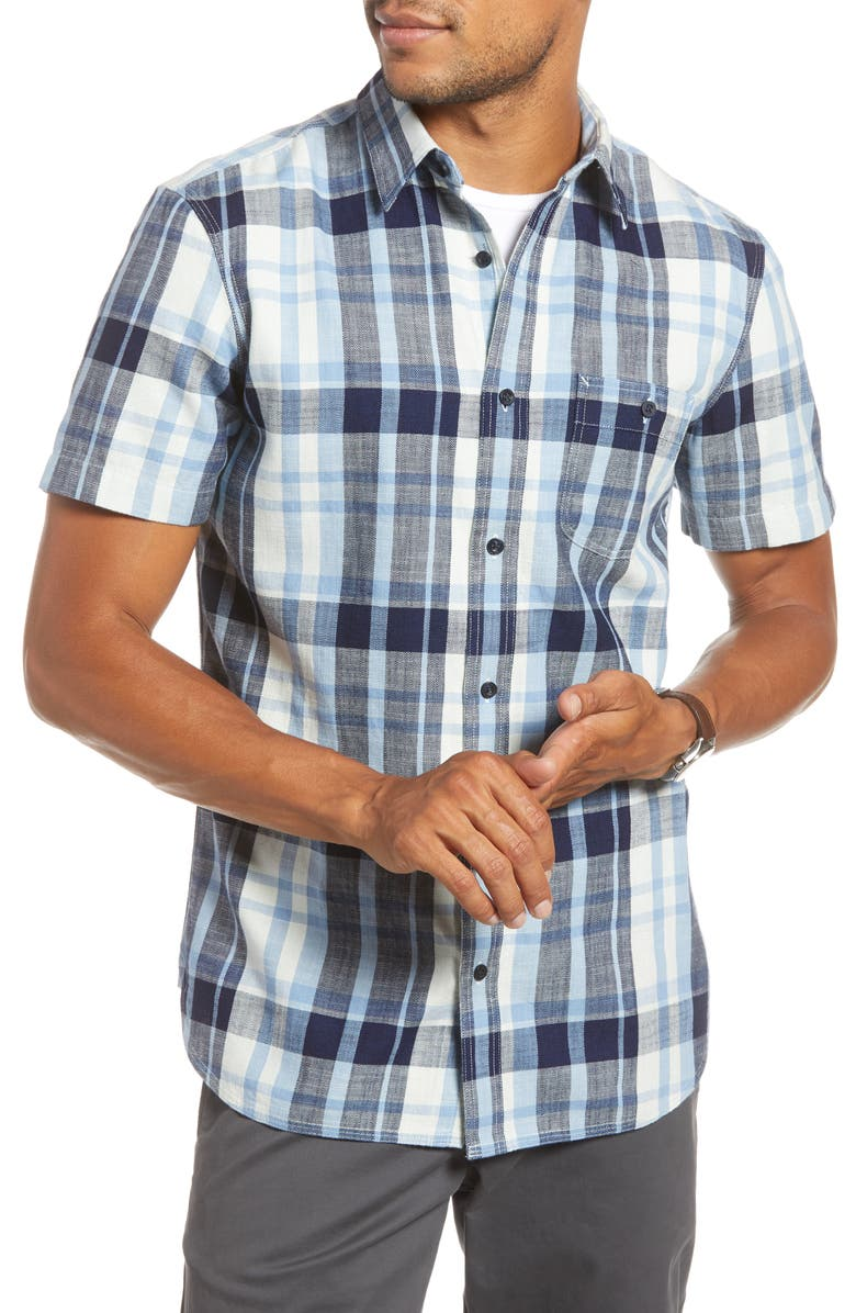 1901 Trim Fit Plaid Short Sleeve Button-Up Sport Shirt, Main, color, NAVY INDIGO CROP PLAID