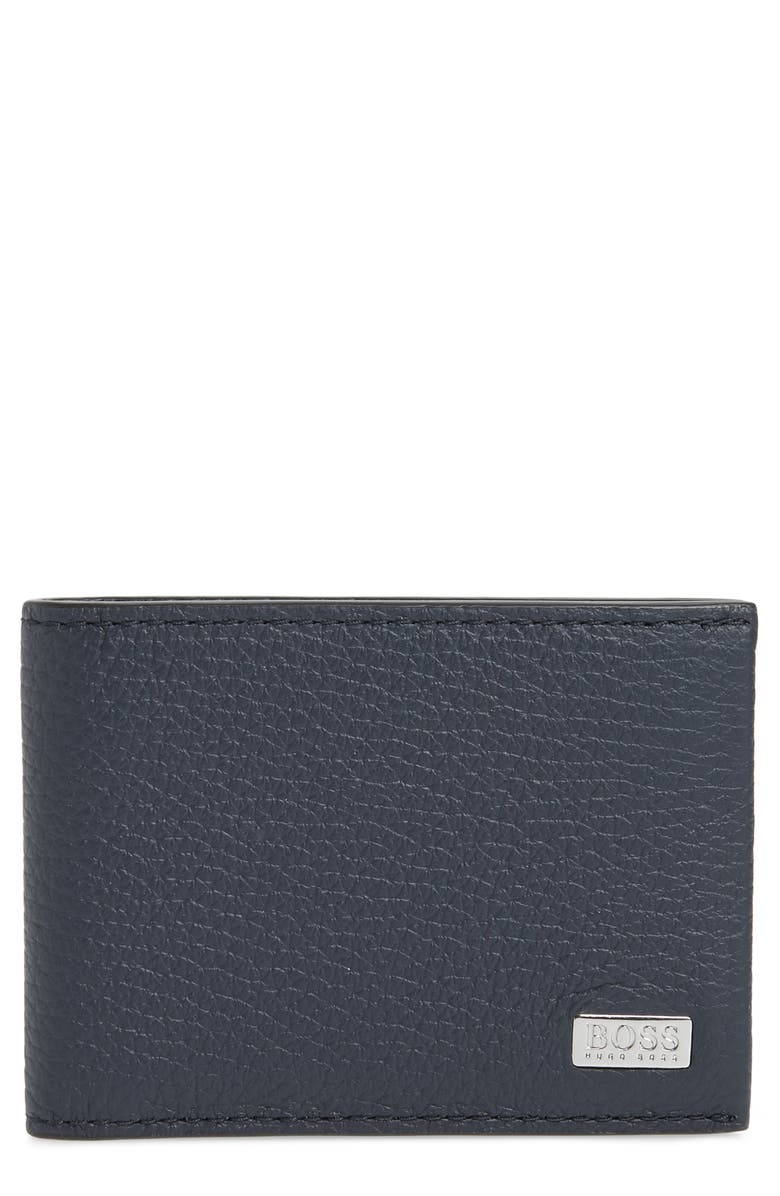 BOSS Crosstown Leather Wallet, Main, color, NAVY