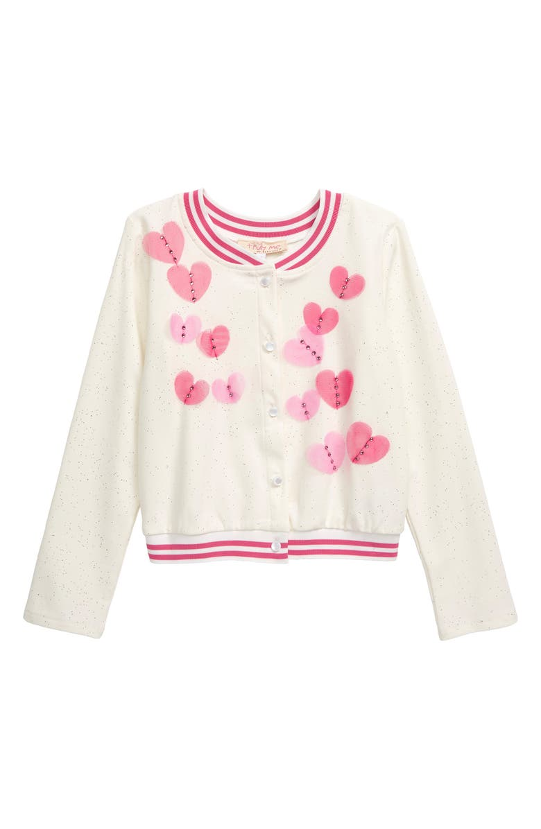 TRULY ME Mesh Heart Cardigan, Main, color, 142