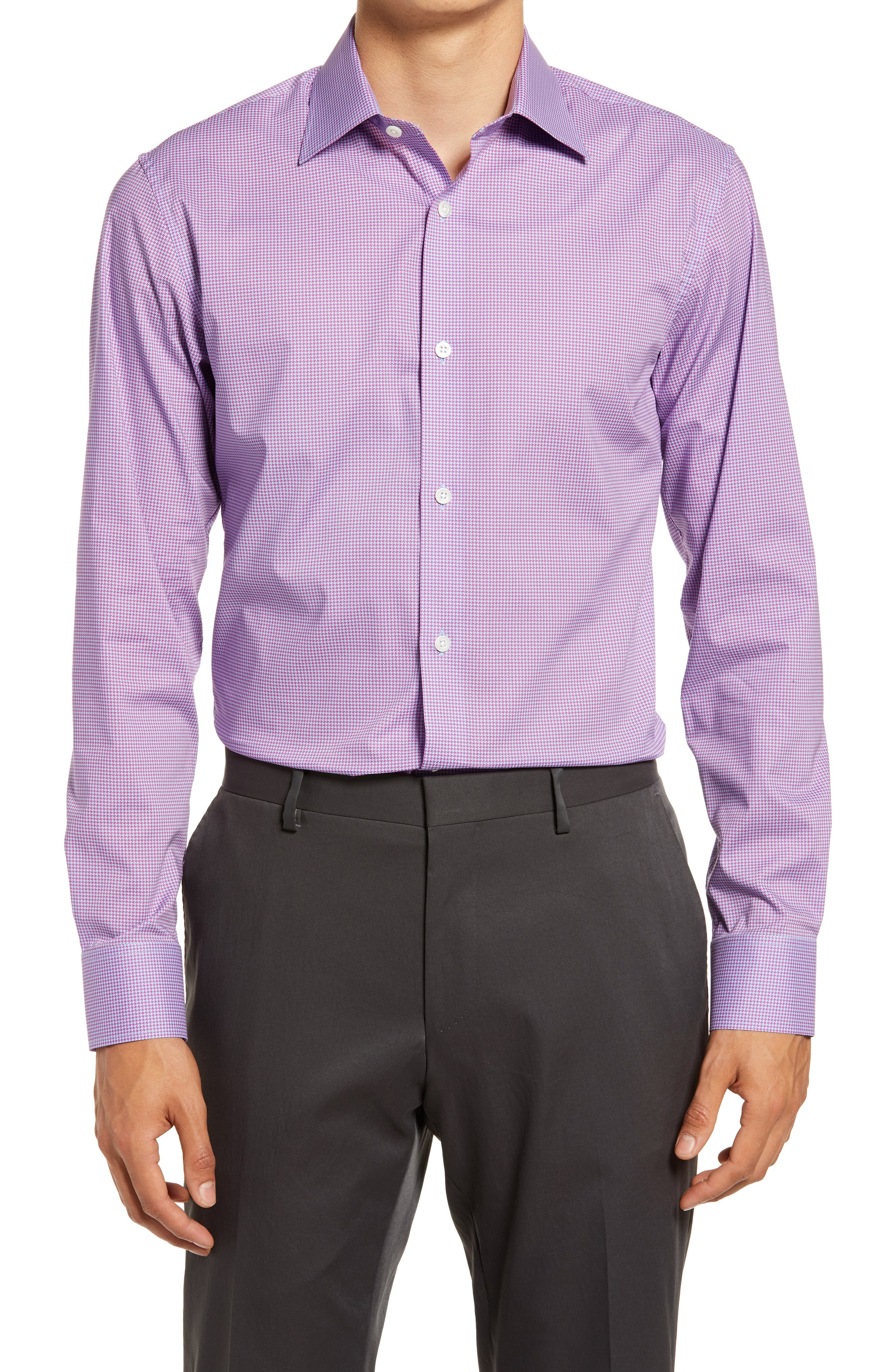 Jetsetter Slim Fit Houndstooth Stretch Dress Shirt