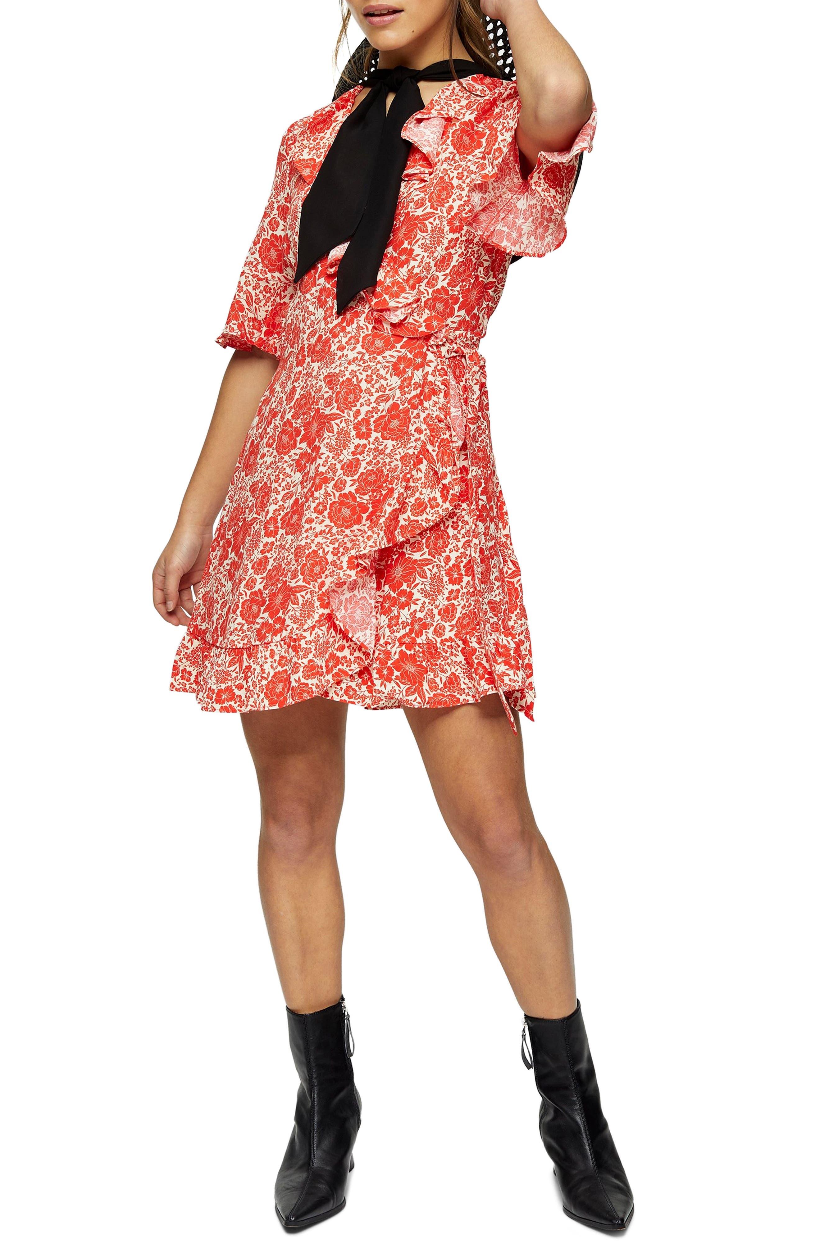 Topshop Floral Print Ruffle Long Sleeve Wrap Minidress (Petite)   Nordstrom