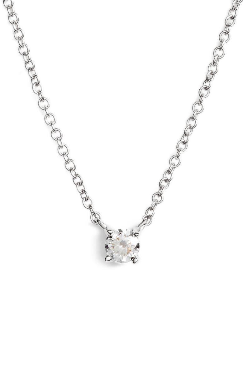 BONY LEVY Petite Liora Diamond Solitaire Pendant Necklace, Main, color, WHITE GOLD