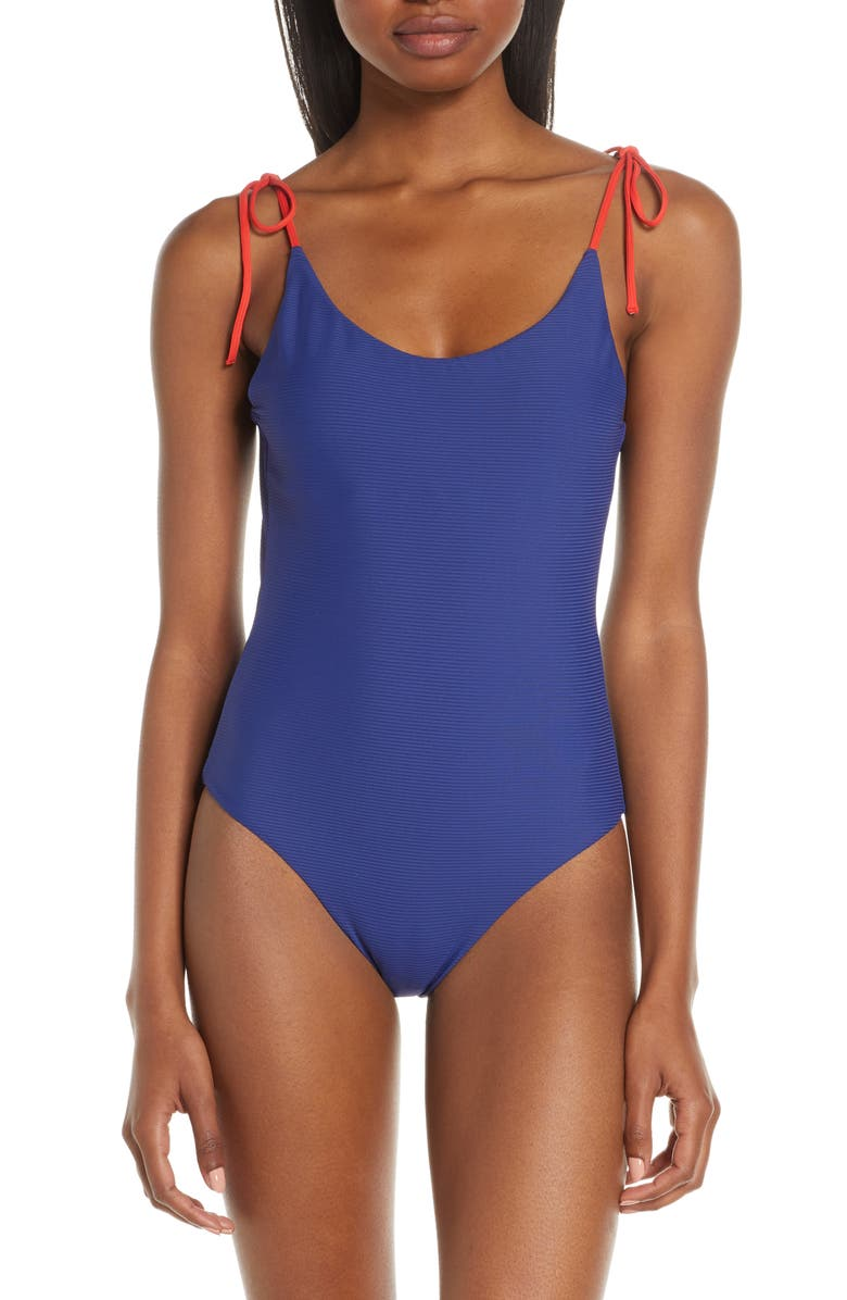 ONIA Ginny Gingham One-Piece Swimsuit, Main, color, BLUEPRINT