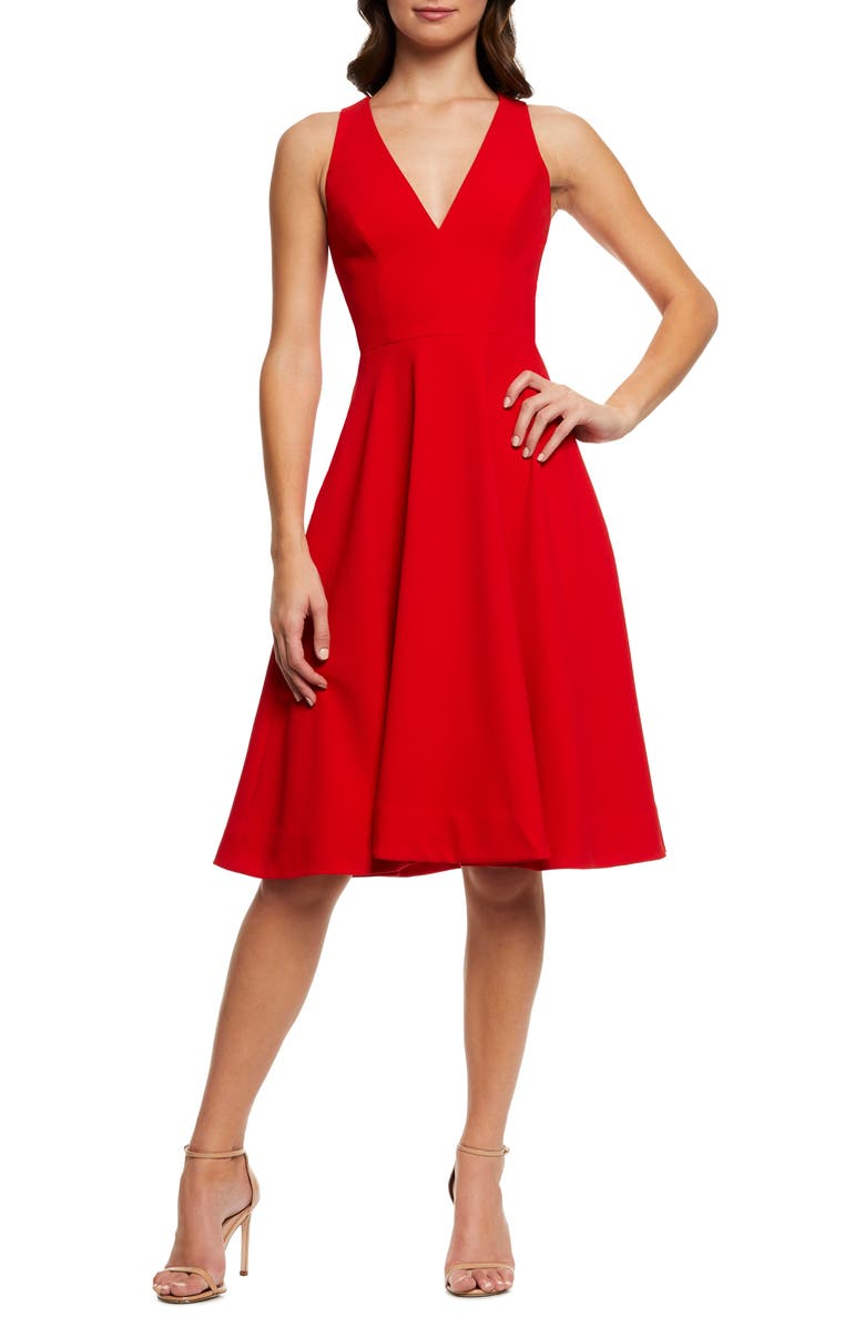DRESS THE POPULATION Catalina Fit & Flare Dress, Main, color, ROUGE