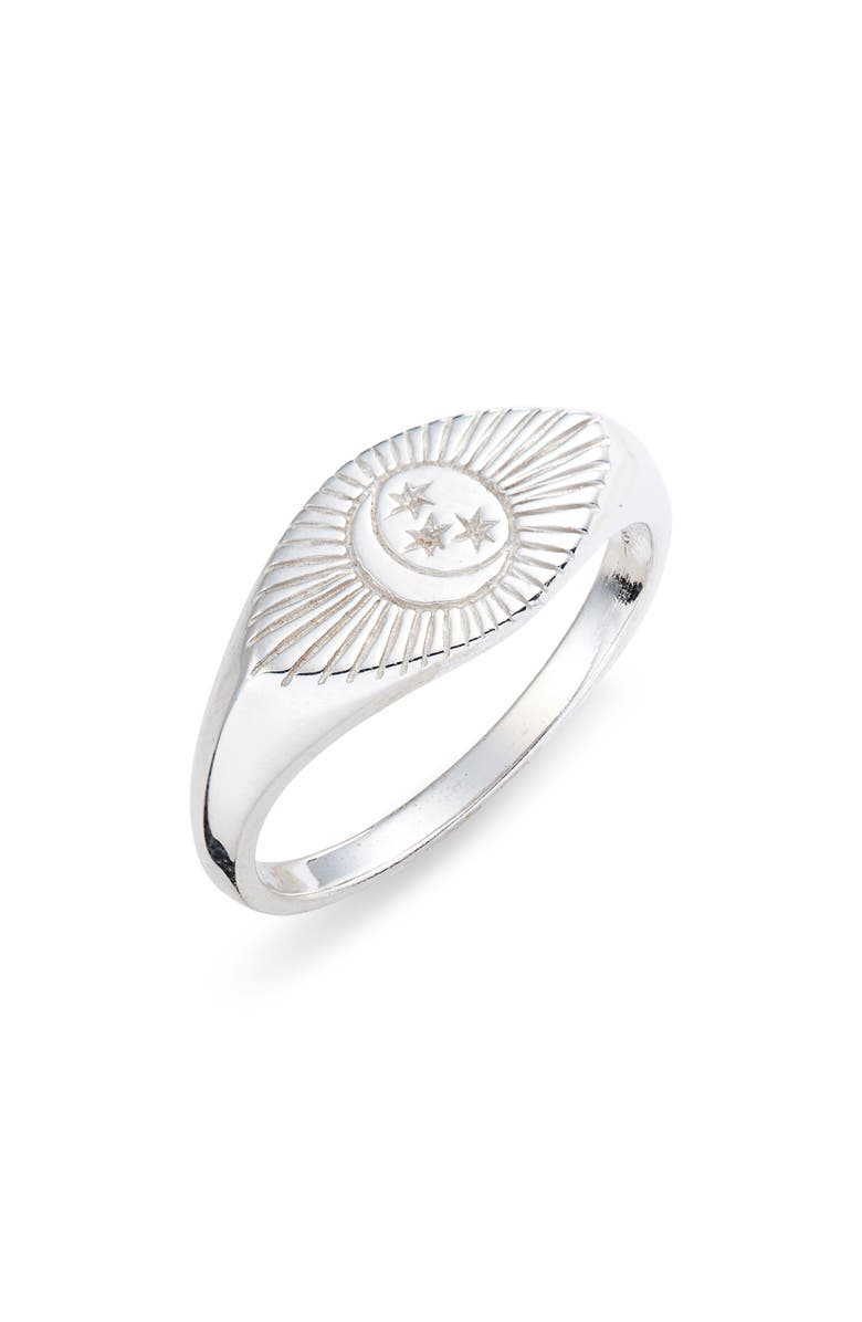 STERLING FOREVER Starry Nights Eye Signet Ring, Main, color, SILVER