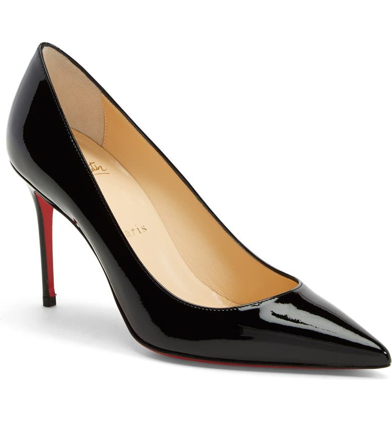 CHRISTIAN LOUBOUTIN 'Decollete' Patent Leather Pump, Main, color, BLACK