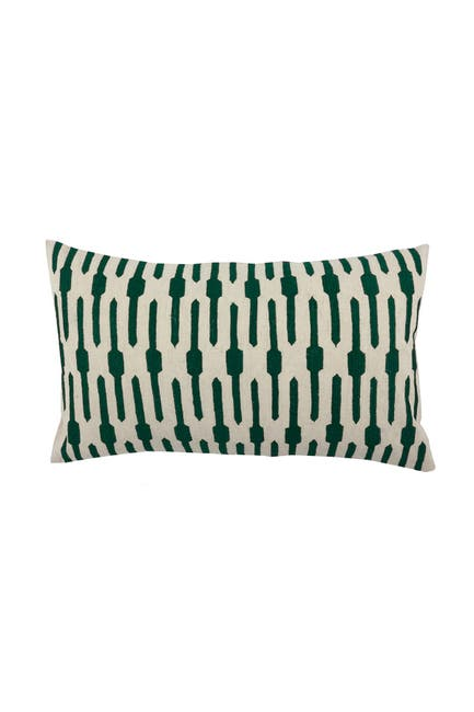 """Image of DIVINE HOME Emerald Embroidered Ticking Stripes Lumbar Throw Pillow - 24""""x14"""""""