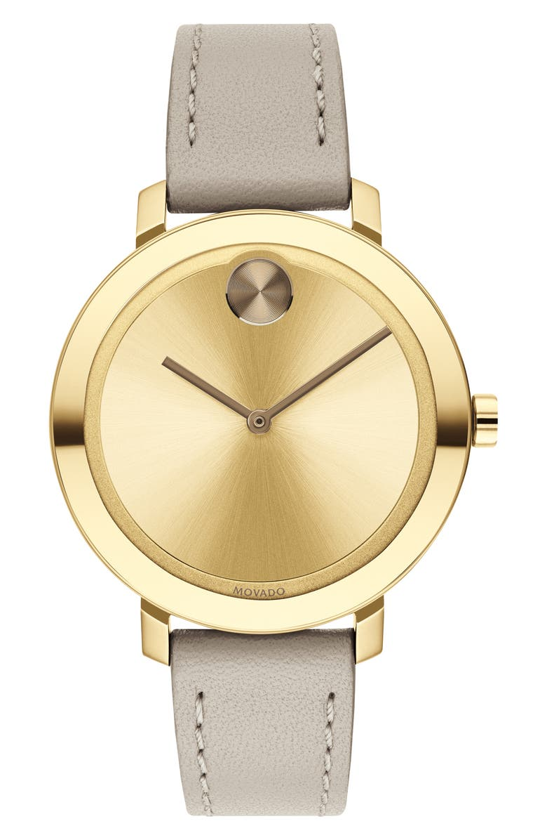 MOVADO Bold Leather Strap Watch, 34mm, Main, color, KHAKI/ GOLD