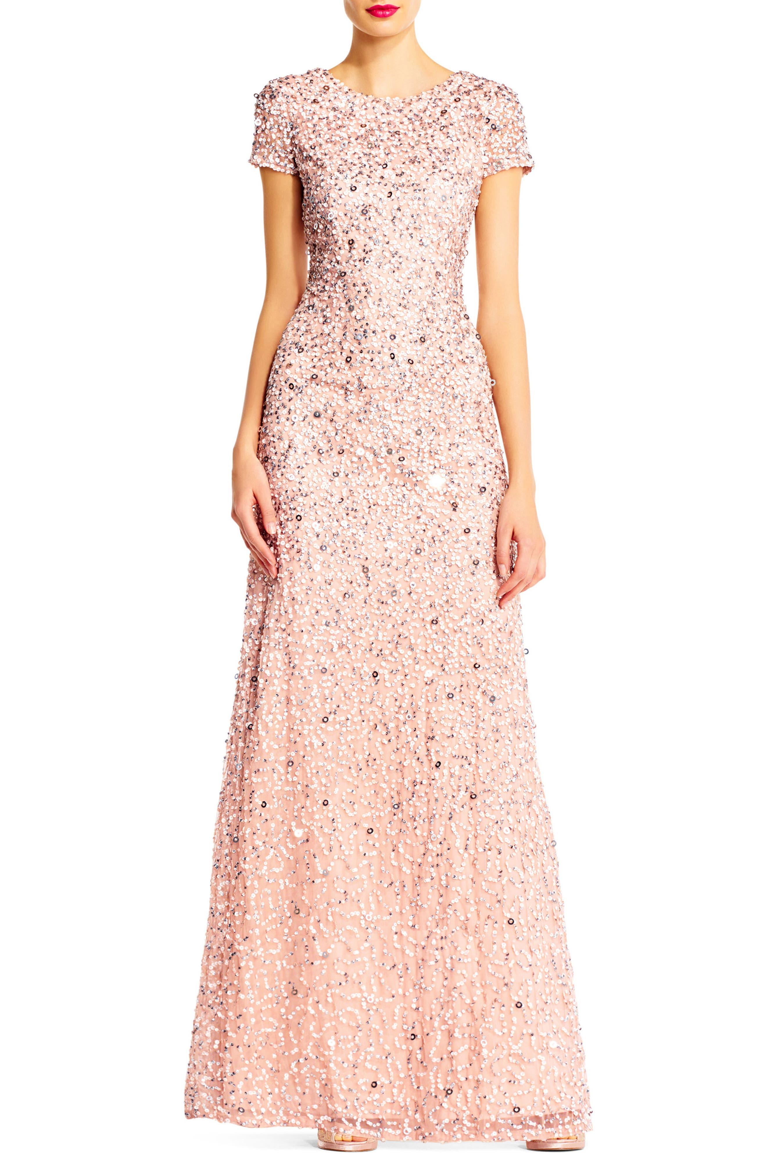 ,                             Short Sleeve Sequin Mesh Gown,                             Alternate thumbnail 18, color,                             250