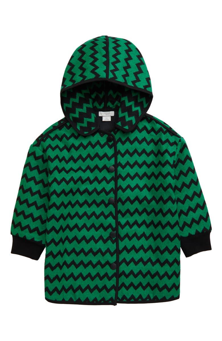STELLA MCCARTNEY KIDS Zig Zag Jacket, Main, color, GREEN